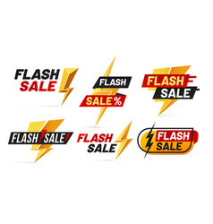 flash sale mega sales lightning badges best deal vector image