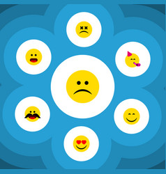 flat icon expression set of smile cross-eyed face vector image