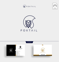fox tail monoline logo template and business card vector image
