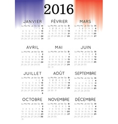French 2016 Calendar vector image