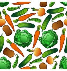 Fresh farm vegetables seamless pattern vector image