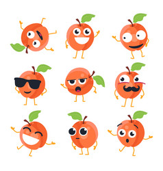 Funny peach - isolated cartoon emoticons vector