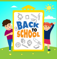 girl and boy standing with back to school board vector image