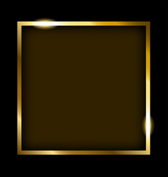 Golden rectangle frame isolated on black vector