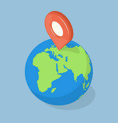 Gps pointer on planet earth navigation concept vector