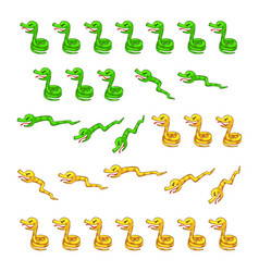 Green and yellow snakes game sprites vector