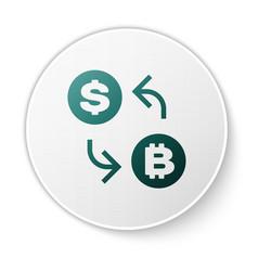 green cryptocurrency exchange icon isolated on vector image
