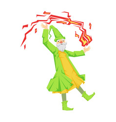 green wizard in action with red crystal ball vector image