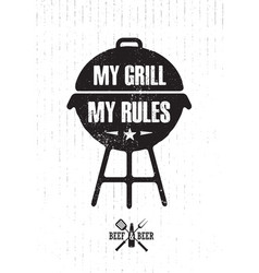 Grill master meat on fire barbecue menu vector