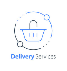 Grocery basket thin line icon food delivery vector