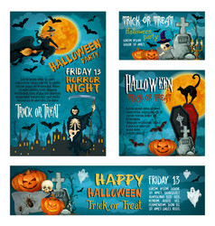 halloween banner template for holiday party design vector image