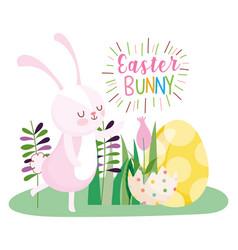 happy easter rabbit eggshell yellow egg flowers vector image