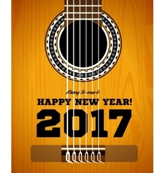 happy new year on background guitars and vector image
