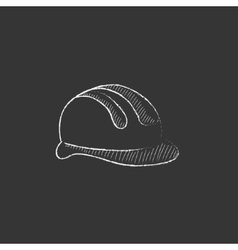 Hard hat Drawn in chalk icon vector image