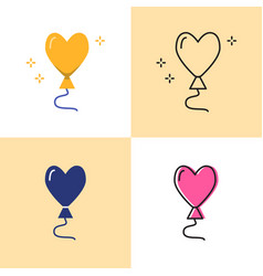 heart shaped balloon icon set in flat and line vector image