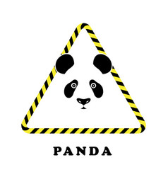 icon head panda in a triangle tape danger vector image