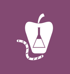 Icon test-tube apple and worm vector