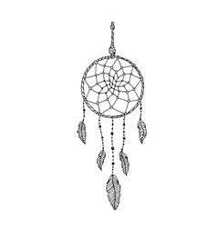 Indian dream catcher black and white ethnic vector