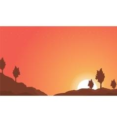 Landscape of hill with orange sky backgrounds vector image