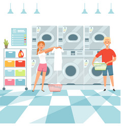 laundry background woman washing clothes in the vector image