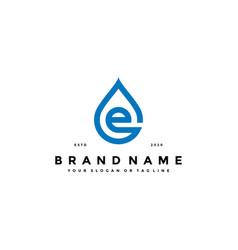 Letter e water drop logo design vector