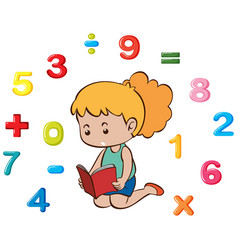 little girl and many numbers vector image