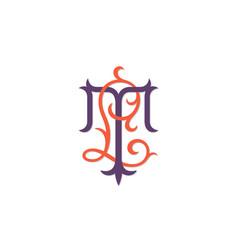 luxury monogram lt vector image