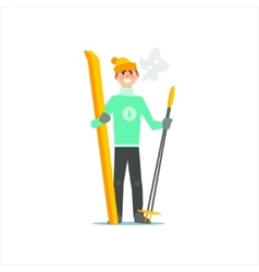 Man With Skies And Poles vector
