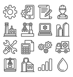 manufacturing and engineering icons set line vector image