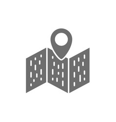 Map with pointer navigation location pin grey vector