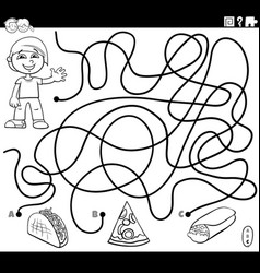 Maze game with boy and food objects color book vector