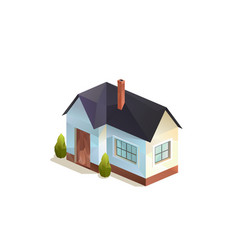 One-storey family house isolated vector