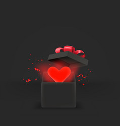 Opened gift box with red heart 3d style banner vector