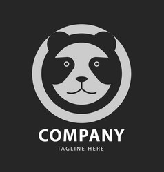 panda head logo circles design template vector image