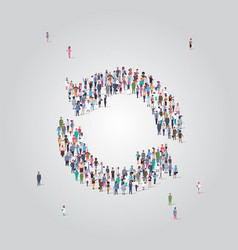 people crowd gathering in refresh circle arrows vector image