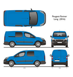 Peugeot partner long wheel base combi van 2016 vector
