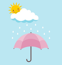 Pink umbrella smiling sun cloud and rain over vector