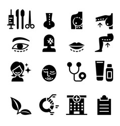 Plastic surgery icon set vector