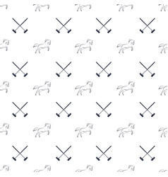 Polo seamless pattern running horses and cross vector