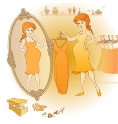 pregnant woman choose the dress vector image