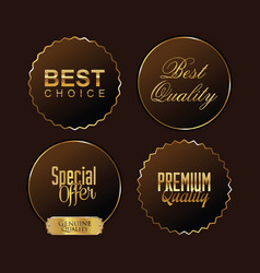 premium quality brown and gold labels vector image