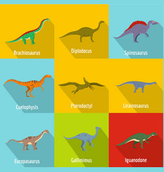 Raptor icons set flat style vector