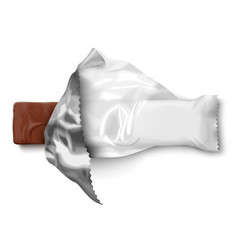realistic opened foil pack with candy bar vector image