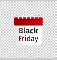 realistic red calendar with black friday isolated vector image