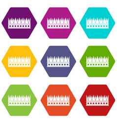 Regal crown icon set color hexahedron vector