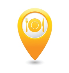 Restaurant icon yellow map pointer vector