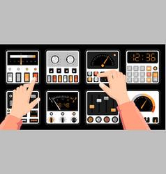 Retro dashboard hands on radio control panel vector