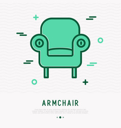 retro styled armchair thin line icon vector image