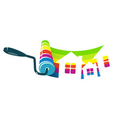 roller with paint and houses vector image vector image