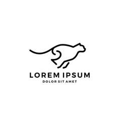 running leopard cheetah logo line art outline vector image